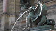 Fountain and statue at St. Michel in Paris, France Stock Footage