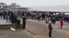 Stock Video Footage of Beach Crowded People Animals Overcast Day England