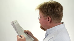 Man Reading Stock Market Report Stock Footage