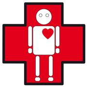 Human white silhouette medical icon of heart failure on the cross Stock Illustration