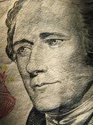 Alexander Hamiltons portrait is depicted on painted on the $ 10 banknotes Stock Photos