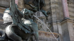 Fountain and sculpture at St. Michel in Paris, France Stock Footage