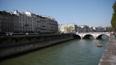 Urbanscape at river Seine in Paris, France - stock footage