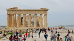 Parthenon at the Acropolis with Tourist Stock Footage