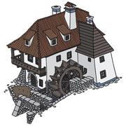 Old Watermill - stock illustration
