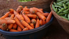 Pile of carrots and string beans at market stand in Goa. Stock Footage