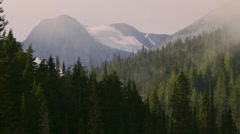 Morning Mist Over Mountain Forest time lapse Stock Footage