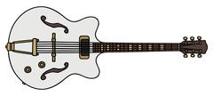 Classic white electric guitar Stock Illustration