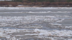 Ice Floats on the River Stock Footage