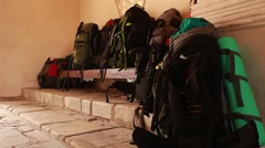 Hiking Bagpacks of touristic group. Vacation, trip and travel bags. Stock Footage