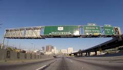Hollywood 101 Downtown Freeway Signs Stock Footage