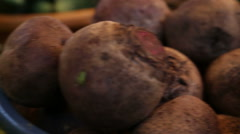 Close up of vegetable stand with beetroot and beans Stock Footage