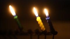 Hanukkah candles Stock Footage