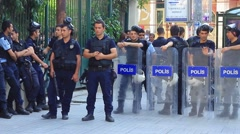 Police lined up on Istiklal Street during the protest - stock footage