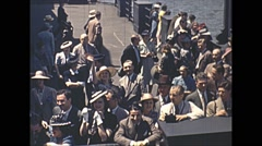 Vintage 16mm film, 1940, people bids bon voyage from dock Stock Footage