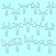 Angels  linear icon set.  Different wing styles. Stock Illustration