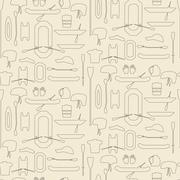 Rafting sport items linear icon set seamless texture. Oar and paddle rafts. C - stock illustration