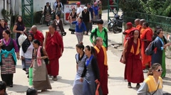 Tibetan monk and people of lesson Dalai Lama, Buddhist temple, Dharamsala, India Stock Footage