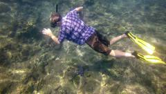 Diver Examines Marine Life on the Shallow Ocean Floor in Thailand Stock Footage