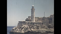 Vintage 16mm film, 1940, entering Havana Harbour view of Morro Castle Stock Footage