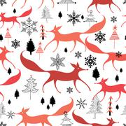 winter pattern of foxes - stock illustration
