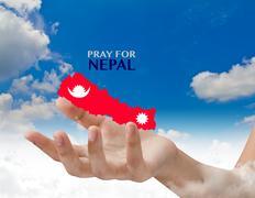 Stock Illustration of Pray for Nepal. Earthquake Crisis
