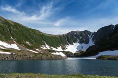 Beautiful mountains and Blue Lake on Kamchatka Peninsula. Russia, Far East Stock Photos