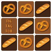 Stock Illustration of Tic-Tac-Toe of Bread and Pretzel