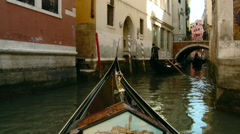 Venice - Beautiful Antique Gondola Turns Onto a Narrow Canal Stock Footage