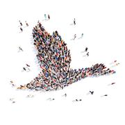people in the form of a goose - stock illustration
