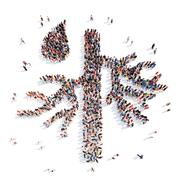 people in the form of a blood vessel - stock illustration