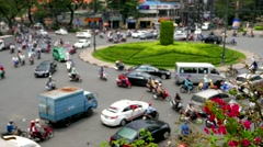 Defocused roundabout traffic in Ho Chi Minh City. 4K resolution. Stock Footage