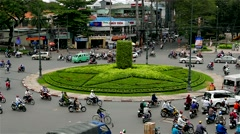 Ho Chi Minh City - April 2015: Roundabout traffic close up. 4K resolution. Stock Footage