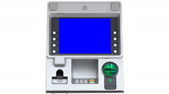 ATM (Automatic Teller Machine) Blue Screen Display (zoom out) Stock Footage