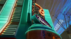 Casino in Las Vegas Downtown at Freemont Street - stock footage