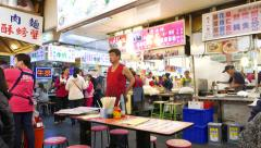 Restaurant service man standing like boss, food court at market Stock Footage