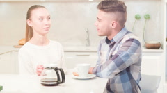 Young couple drinking tea Stock Footage