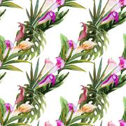 Tropical watercolor seamless pattern Stock Illustration