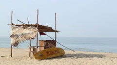 Resting place at sandy beach in Goa. Stock Footage