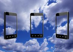 Smart-phones transparent on blue sky background Stock Illustration