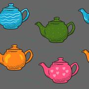 Pattern colored cartoon teapot Doodle - stock illustration