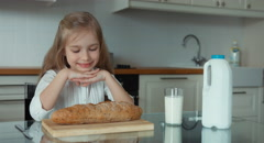 Stock Video Footage of Portrait of a girl preschooler in the kitchen