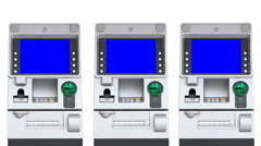 ATM (Automatic Teller Machine) Blue Screen Display (repeat) Stock Footage