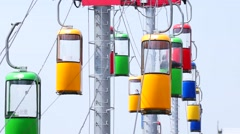 Cableway, towers with moving booths, large. Stock Footage