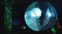 Mirror ball rolling in the night club Stock Footage