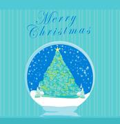 Abstract christmas tree card - stock illustration