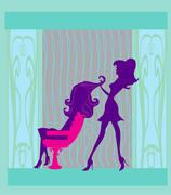 illustration of the beautiful woman in hairdressing salon - stock illustration