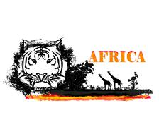 Grunge background with African fauna and flora Stock Illustration