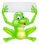 Cartoon Frog Holding Sign Piirros