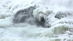 Water flowing under ice Stock Footage